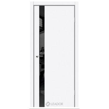 Двери Leador ASTI белый матовый + черное стекло