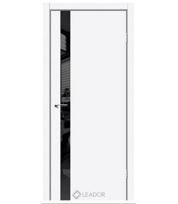 Двери Leador ASTI Glass белый матовый + черное стекло
