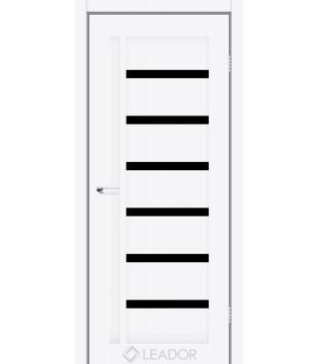 Двери Leador AMELIA белый мат черное стекло