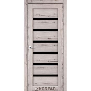 Межкомнатные двери KORFAD Porto PD-01 дуб нордик черное стекло