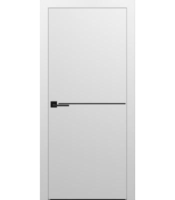 Двери Эмаль 7.20 Брама белая эмаль глухое с черным молдингом