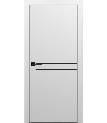 Двери Эмаль 7.21 Брама белая эмаль глухое с черным молдингом