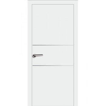 Двери Эмаль 7.22 Брама белая эмаль глухое молдинг хром