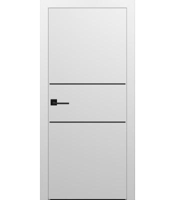 Двери Эмаль 7.22 Брама белая эмаль глухое с черным молдингом