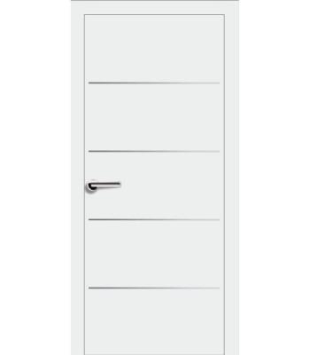 Двери Эмаль 7.23 Брама белая эмаль глухое молдинг хром