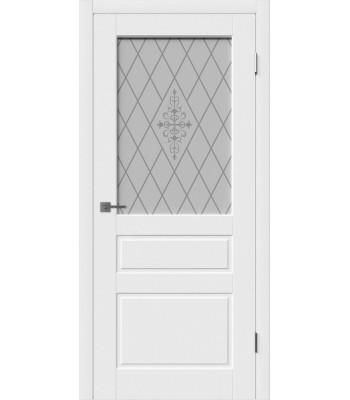 Дверное полотно Hygge Chester со стеклом white art (белая эмаль)
