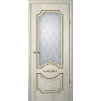 Межкомнатные двери Леонардо ясень Голд патина со стеклом