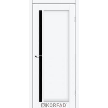 Межкомнатные двери KORFAD ORISTANO OR-06 белый перламутр черное стекло