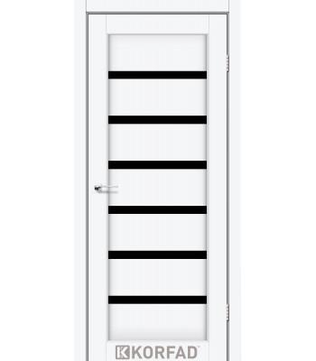 Межкомнатные двери KORFAD PORTO DELUXE PD-01 ясень белый черное стекло