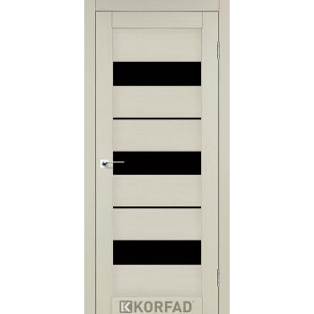 Межкомнатные двери KORFAD Porto PR-12 дуб беленый черное стекло