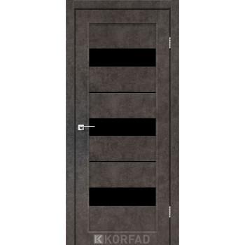 Межкомнатные двери KORFAD Porto PR-12 лофт бетон черное стекло
