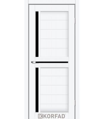 Межкомнатные двери KORFAD SCALEA SC-04 ясень белый черное стекло