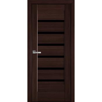 Двери Новый Стиль Линнея каштан черное стекло
