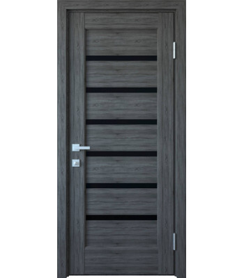 Двери Новый Стиль Линнея грей черное стекло