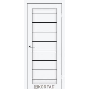 Межкомнатные двери KORFAD PIANO DELUXE PND-01 ясень белый черное стекло