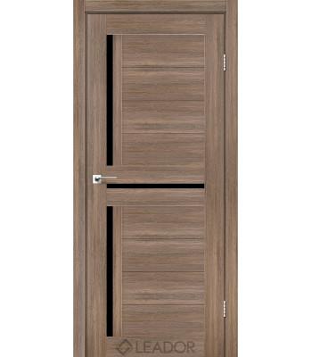 Двери Leador lazio серое дерево черное стекло