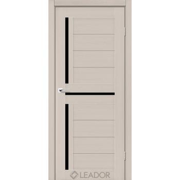 Двери Leador lazio дуб латте черное стекло