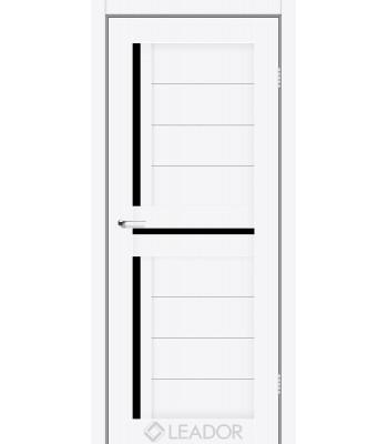 Двери Leador Lazio белый матовый черное стекло