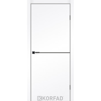 Межкомнатные двери KORFAD DLP-01 Super PET белый мат + декор чорный