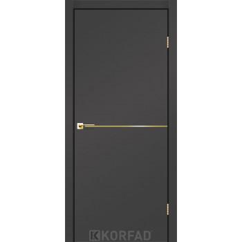 Межкомнатные двери KORFAD DLP-01 Super PET антрацит + декор gold