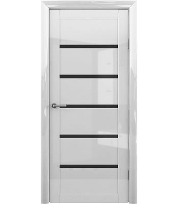 Межкомнатные двери Albero Flora Белый Глянец черное стекло