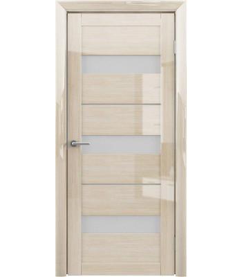 Межкомнатные двери Albero Praga Глянец Мокко стекло белое
