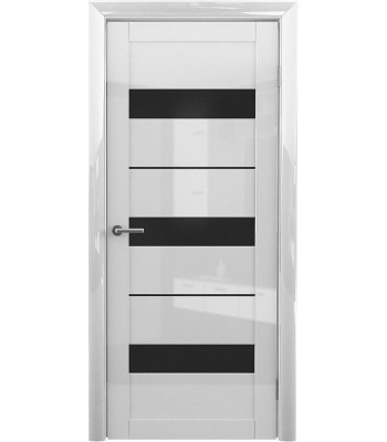 Межкомнатные двери Albero Praga Белый Глянец черное стекло