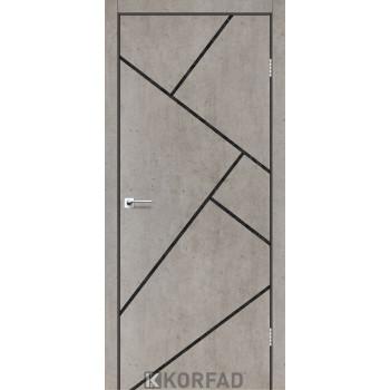 Межкомнатные двери KORFAD GLP-15 БЕТОНЫ декор черный из CPL