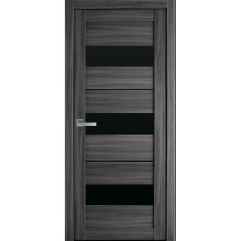 Двери Новый Стиль Лилу  экошпон дуб атлант черное стекло