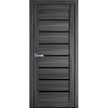 Двери Новый Стиль Леона экошпон черное стекло дуб атлант
