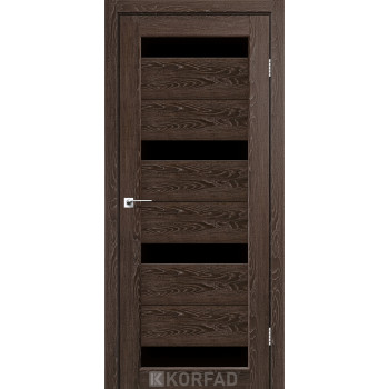 Межкомнатные двери KORFAD Porto PR-06 дуб марсала черное стекло