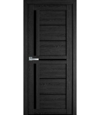 Двери Новый Стиль ПВХ Ultra Диана дуб серый черное стекло