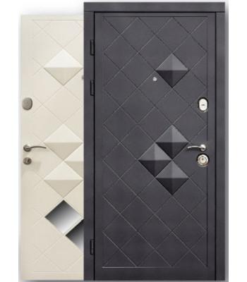 """Двери  """"Steelguard"""" MAXIMA Luxor черный софт/белый шелк"""
