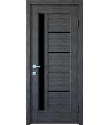 Двери Новый Стиль Грета грей черное стекло