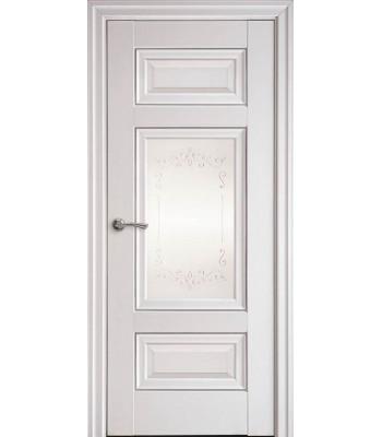 Двери Новый Стиль ШАРМ СТЕКЛО С МОЛДИНГОМ БЕЛЫЙ МАТ