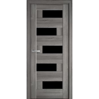 Двери Новый Стиль Пиана дуб пепельный черное стекло