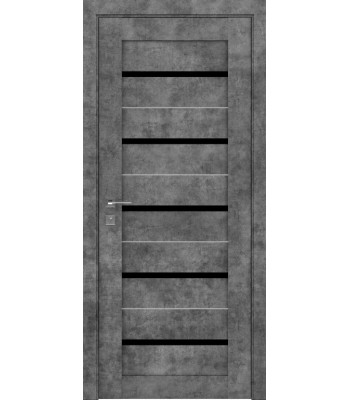 Двери Rodos Modern Lazio серый мрамор черное стекло