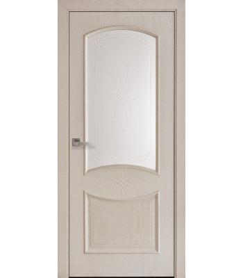 Двери Новый Стиль Донна сатин с гравировкой ясень