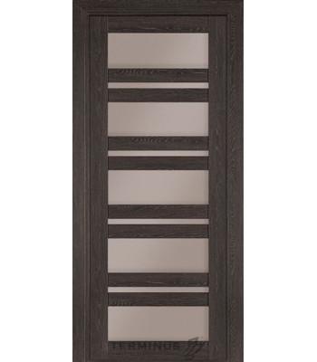 Межкомнатная дверь Терминус Nanoflex модель 107 остекленная трюфель
