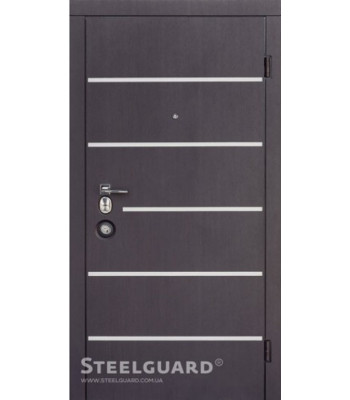 """Двери """"Steelguard"""" Серия FORTE+AV-5 венге темный/белый шелк с замком Mottura"""