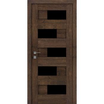 Двери Rodos Modern Verona каштан темный черное стекло Renolit