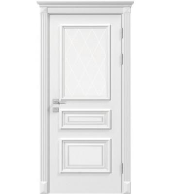 Двери Rodos Siena Rossi белая эмаль со стеклом с гравировкой