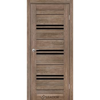 Двери Leador MALTA серое дерево черное стекло