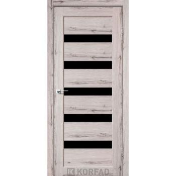 Межкомнатные двери KORFAD Porto PR-03 дуб нордик черное стекло