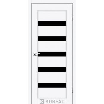 Межкомнатные двери KORFAD Porto PR-03 ясень белый черное стекло