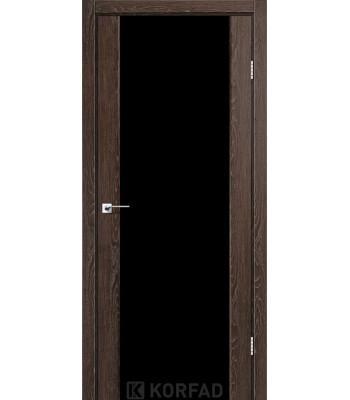 Межкомнатные двери KORFAD SANREMO SR-01 дуб марсала черное стекло
