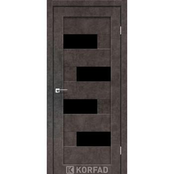 Межкомнатные двери KORFAD PARMA PM-10 лофт бетон черное стекло