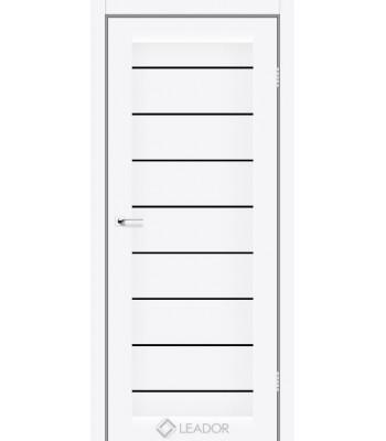 Двери Leador Neapol белый матовый черное стекло