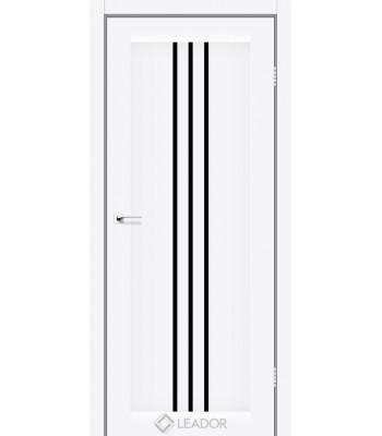 Двери Leador Verona белый матовый черное стекло