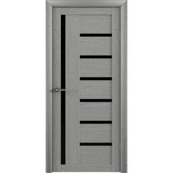Межкомнатные двери Albero BIANCA ясень дымчастый черное стекло